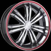 Ace Alloy Devine Black Machined Face Red Stripe