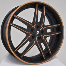 Forgiato Vizzo Flat Black w/Orange Lines & Stripe