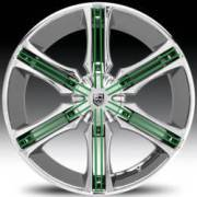 Lexani Arrow Chrome with Green Inserts