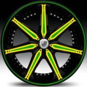 Lexani LX-7 Black with Yellow and Green Inserts