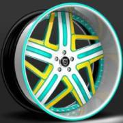 Lexani Libra LF-727<br>White, Yellow, Teal Wheels