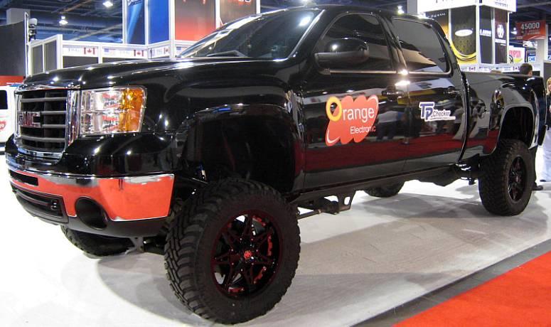 GMC Truck on Mayhem 8060 Missile Black Wheels
