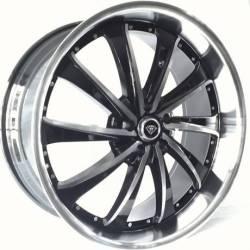 White Diamond 0016 Black Polished Wheels